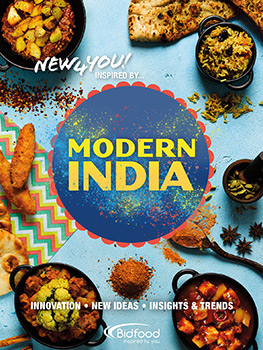 Food photograph of four editions of a foodservice magazine, themed around Americana, Modern Indian food, Oriental Pan-Asian food and Middle Eastern food
