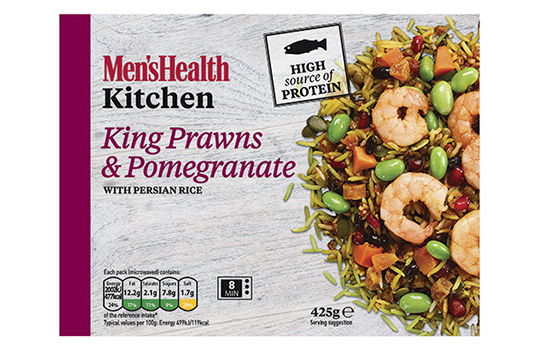 Four frozen ready meal front of pack images featuring food photographs of chicken tikka breast with aubergine and lentil dahl, Thai red chicken curry with spinach and wild rice, king prawns and pomegranate with Persian rice, and chicken tagine and chickpeas with bulgur wheat